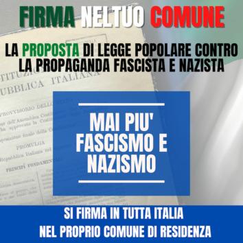 Raccolta firme – Fino al 31 marzo in Comune puoi firmare per la proposta di legge che punisce la propaganda di fascismo e nazismo